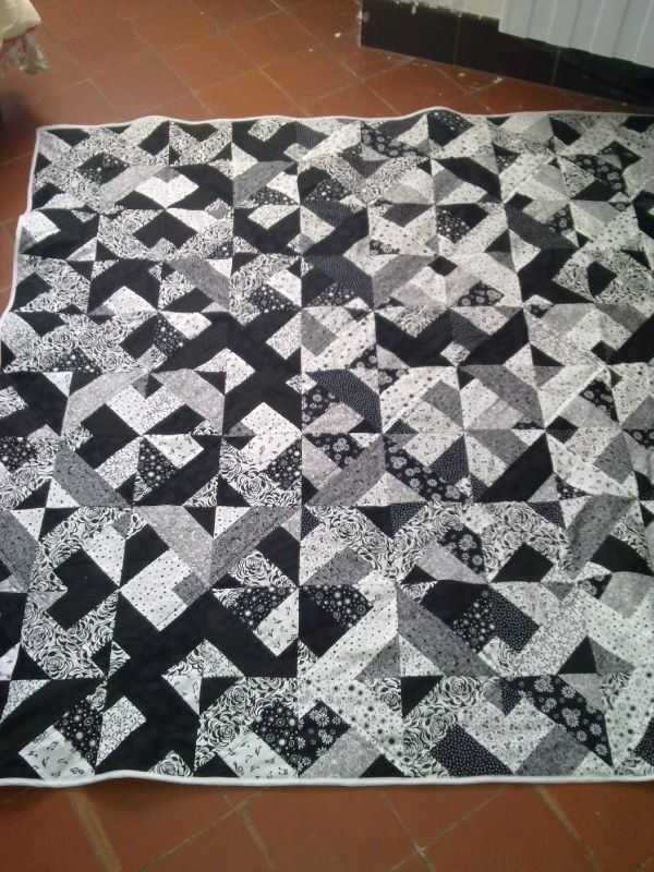 patchwork black and white fin