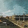 Circle of bernardo bellotto, venice, a view along the molo, looking west, towards the punta della dogana
