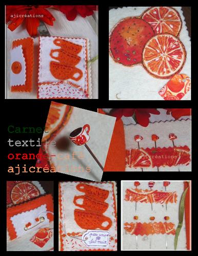 Carnet textile oranges café