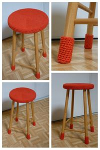 tabouret crochet habillage deco customisation idee crochet laine orange unique