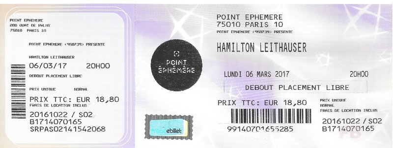 2017 03 06 Hamilton Leithauser Point Ephémère Billet