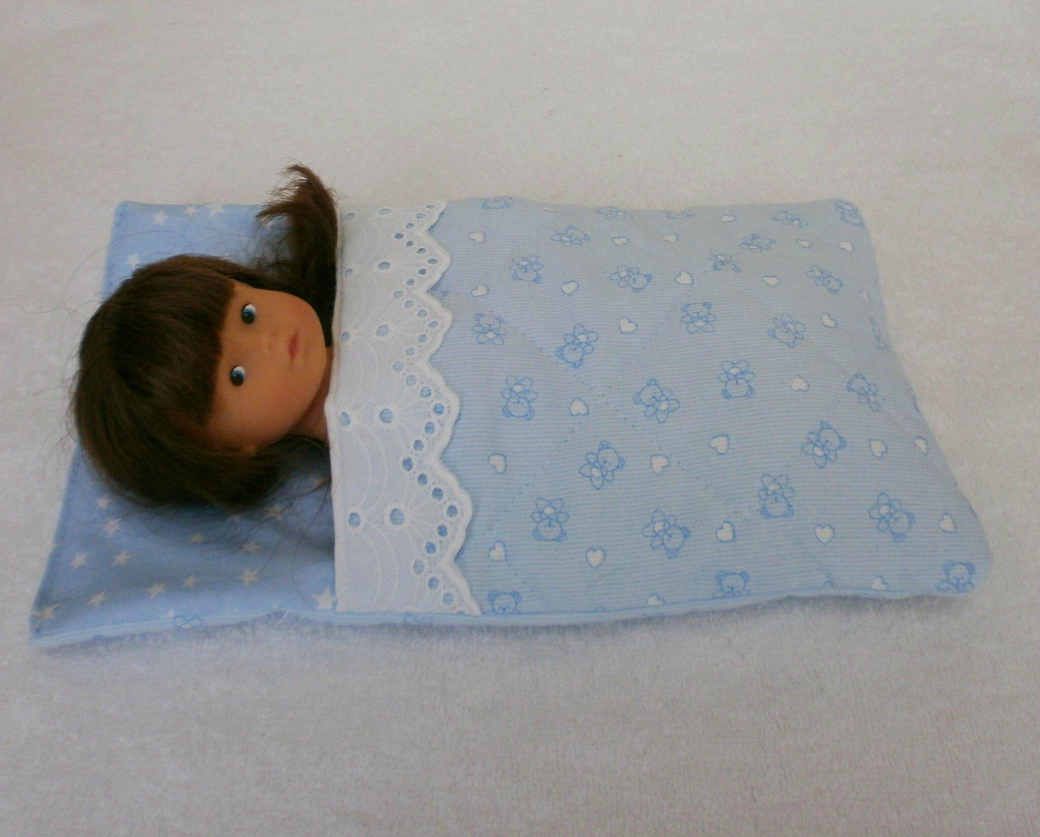 sac de couchage nounours bleu pour mini poup e photo. Black Bedroom Furniture Sets. Home Design Ideas