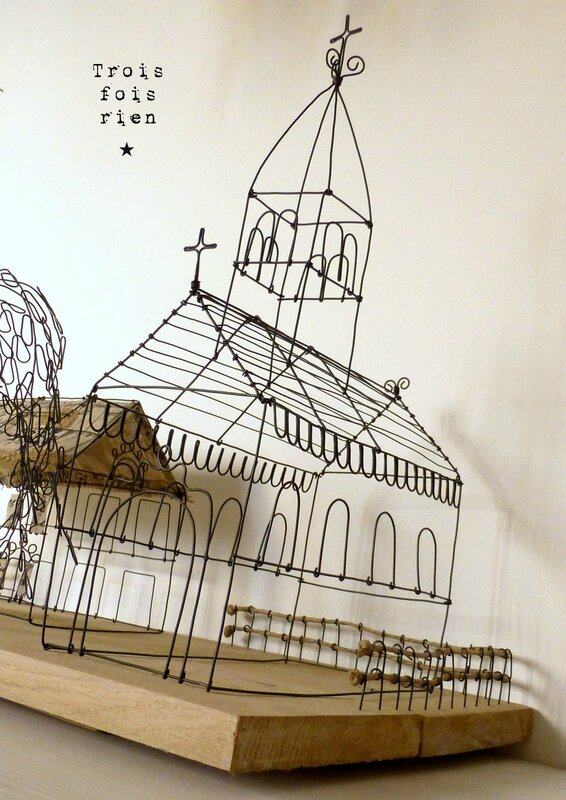 There is no place like home, wire art, fil de fer, wire, wire tree, wire house, wire church, trois fois rien 9