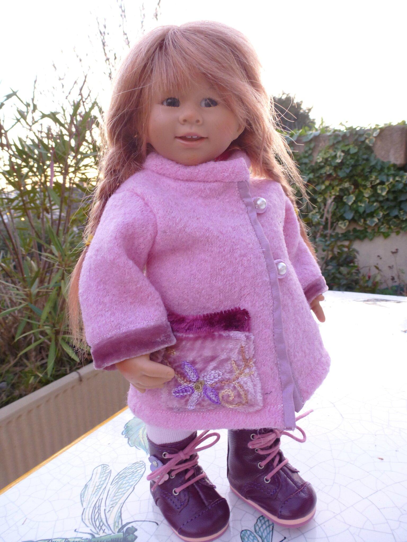 Manteau en laine bouillie rose et grandes chaussettes roses, Wichtel et petites Zwergnases, plus disponible..