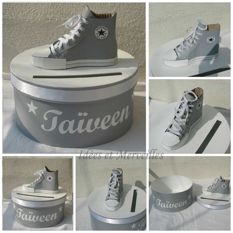 Decoration theme basket converse idees et merveilles for Idee deco urne bapteme
