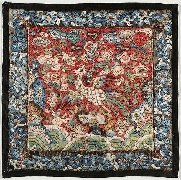 Rank badge for a 3rd rank civil official - rooster, Viet Nam, Nguyen dynasty, 19th century; embroidered silk, 29.5 x 29.8 cm. Gift of Judith and Ken Rutherford 2006, 299.2006. Art Gallery of New South Wales, Sydney (C) Art Gallery of NewSouth Wales, Sydney