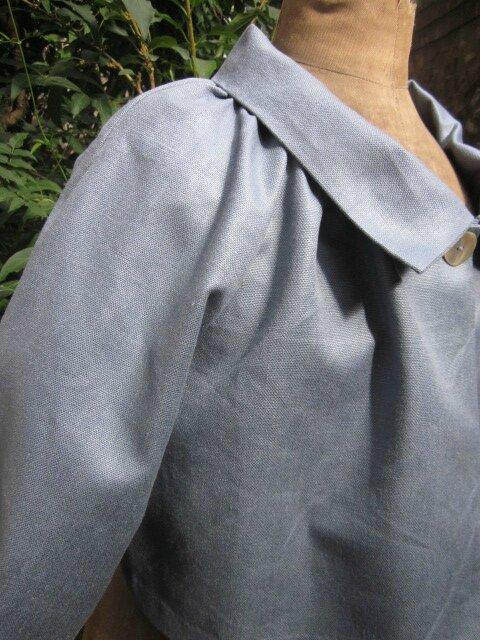 Veste BLANCHE en lin gris bleuté (8)