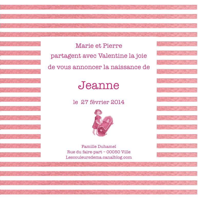 FP rayures horizontales roses et blanches modèle Jeanne fillette et berceau