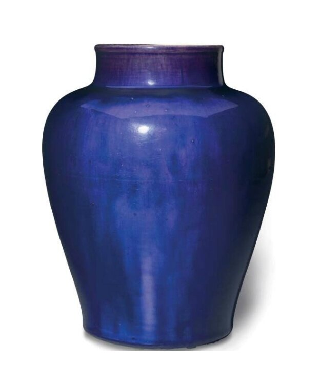 An aubergine-glazed baluster jar, China, Qing dynasty, 17th-18th century