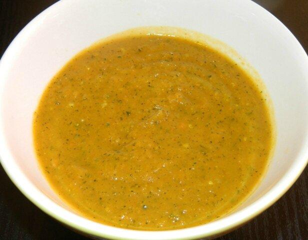 Soupe potiron, courgette, épices