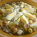 Salade de pâtes, haricots cornilles , thon etc
