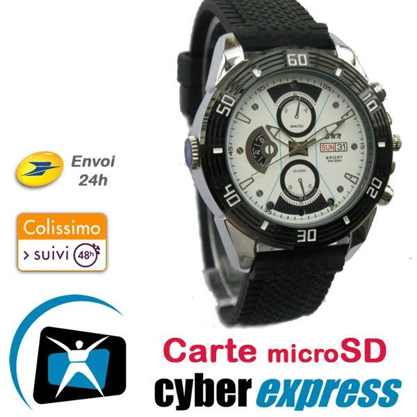 montre mini cam ra espion cyber 16go hd vision nocturne. Black Bedroom Furniture Sets. Home Design Ideas