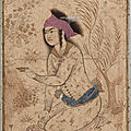 Youth kneeling and holding out a wine-cup, early 17th century, Safavid period, Isfahan, Iran