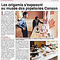 Article de journal Le Reveil 18092014- Expo Origami au musee Canson et Montgolfier