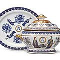 A chinese export blue enamel and gilt soup tureen, cover and stanf, circa 1840