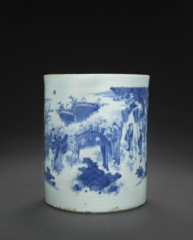 A large blue and white brush pot, bitong, Transitional period