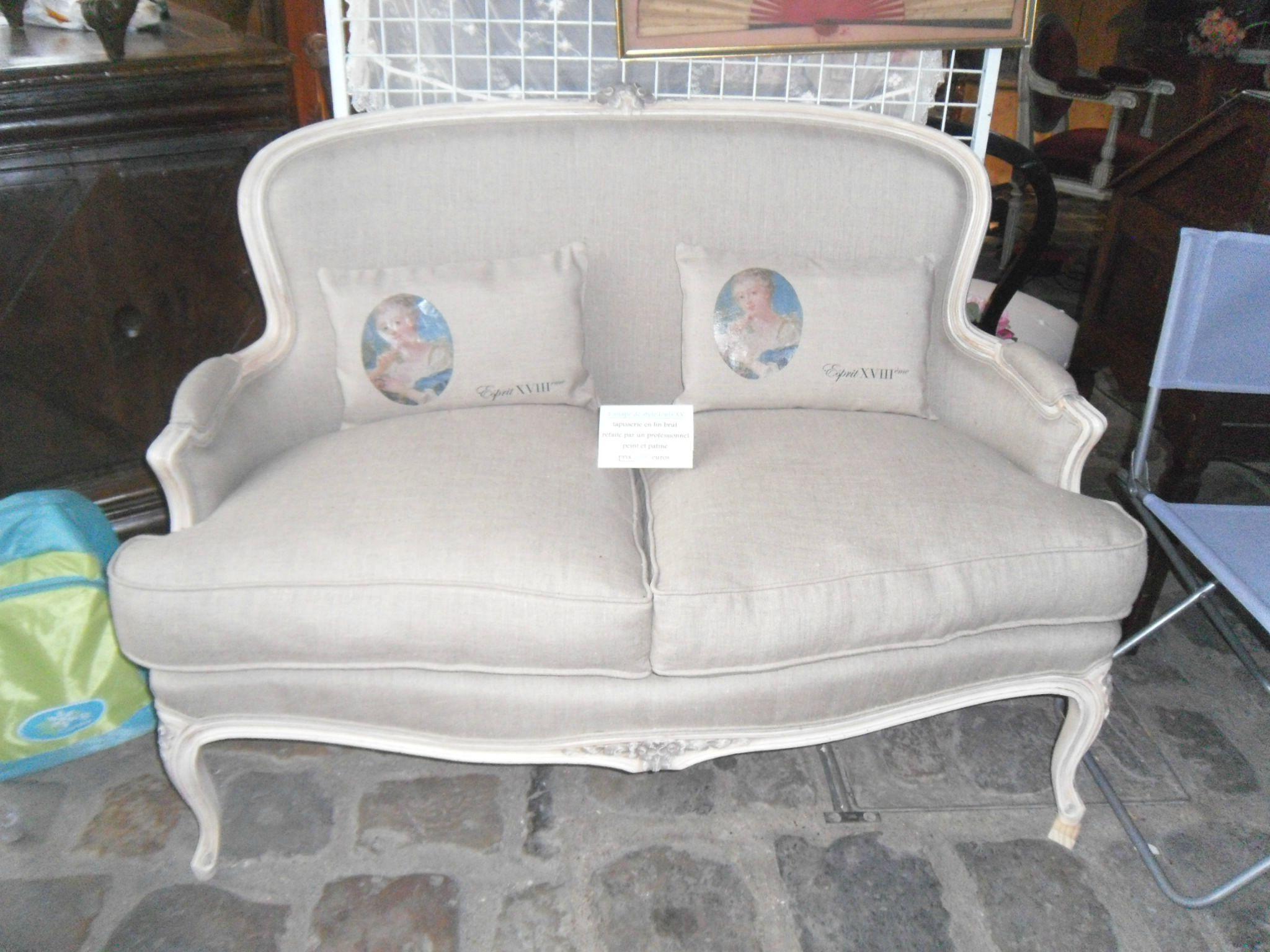 banquette de style louis xv peinte et patin e tissu lin brut la d co des anges. Black Bedroom Furniture Sets. Home Design Ideas