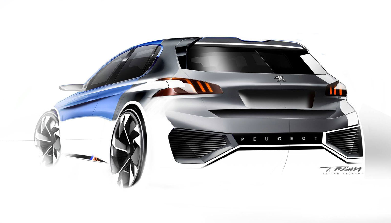 Peugeot 308 r hybrid concept design sketch by thomas rohm for Exterior car design