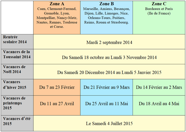 calendrier des vacances scolaires 2014 2015 association. Black Bedroom Furniture Sets. Home Design Ideas