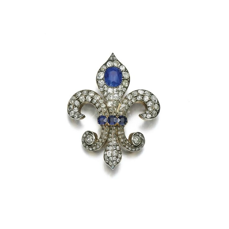 Sapphire and diamond brooch, late 19th century