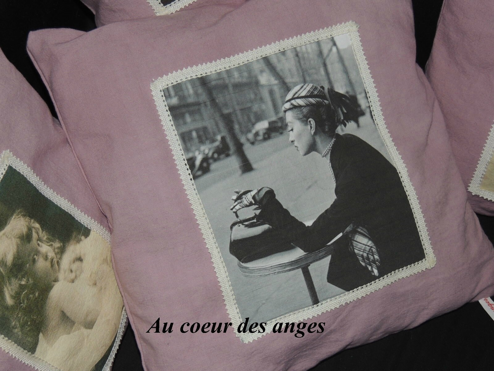 coussin vieux rose linge teint photo de cr ations au coeur des anges. Black Bedroom Furniture Sets. Home Design Ideas