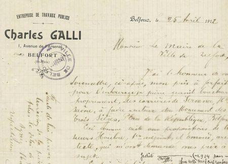 Monument 3 Sièges Socle grille Offre Gali 25 avril 1912