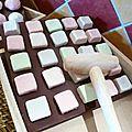 carré chocolat à casser guimauve mûre , pistache, fleur d'oranger et pomme d'amour