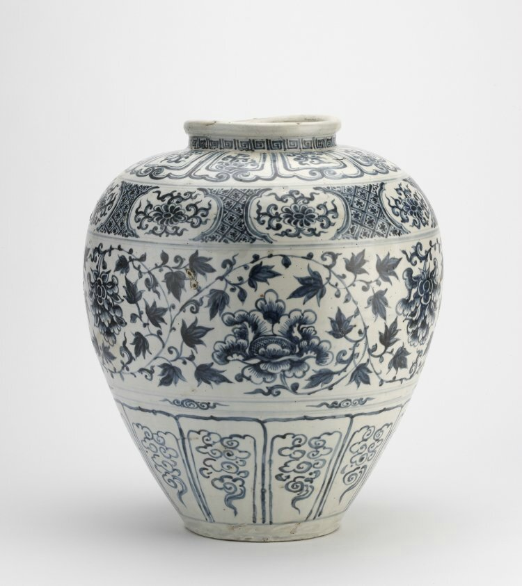 Large oviform jar painted with a central band of scrolling peony flower in underglaze blue. Probably Chu Dau kilns, Red River Delta, northern Vietnam, 1440-1460, stoneware. Height: 43 centimetres; Width: 34 centimetres; Diameter: 34 centimetres. The Art Fu