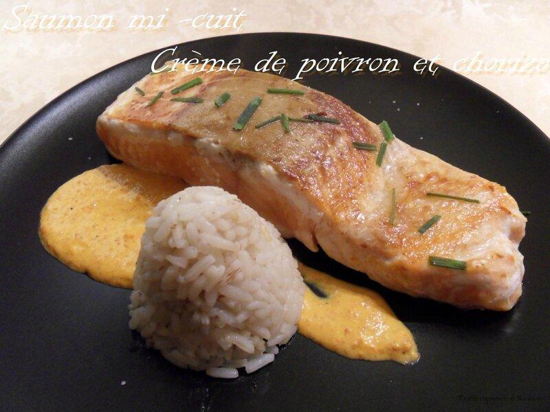 saumon mi-cuit crème de poivron et chorizo