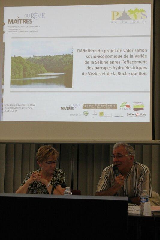 projet valorisation vallée barrage Sélune juillet 2015 Gilbert Badiou président Pays de la Baie du Mont-Saint-Michel Danièle Polvé-Montmasson préfète Manche