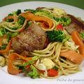 Spaghettis sautés aux sot-l'y-laisse et petits légumes d'après gérard rabaey
