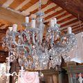 Lustre ancien patiné gris pampilles cristal decoration de charme