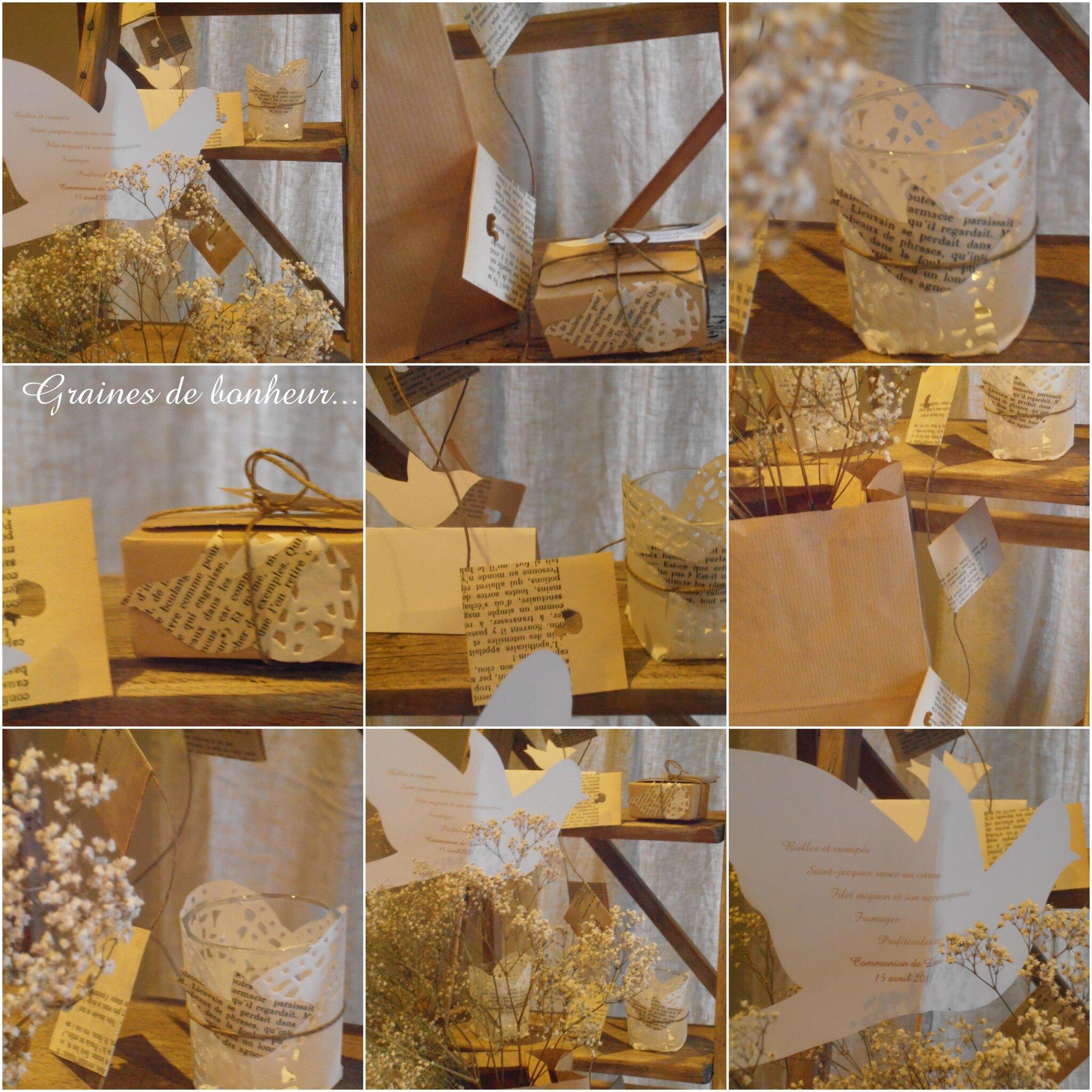 Deco table communion blanc et or for Atelier de decoration