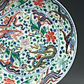 A largewucai'dragon' dish, kangxi six-character mark in underglaze blue within a double circle and of the period (1662-1722)