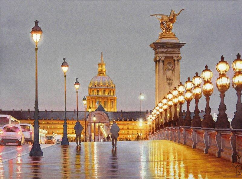 thiery duval nocturne sur le pont alexandre III invalidesnuit