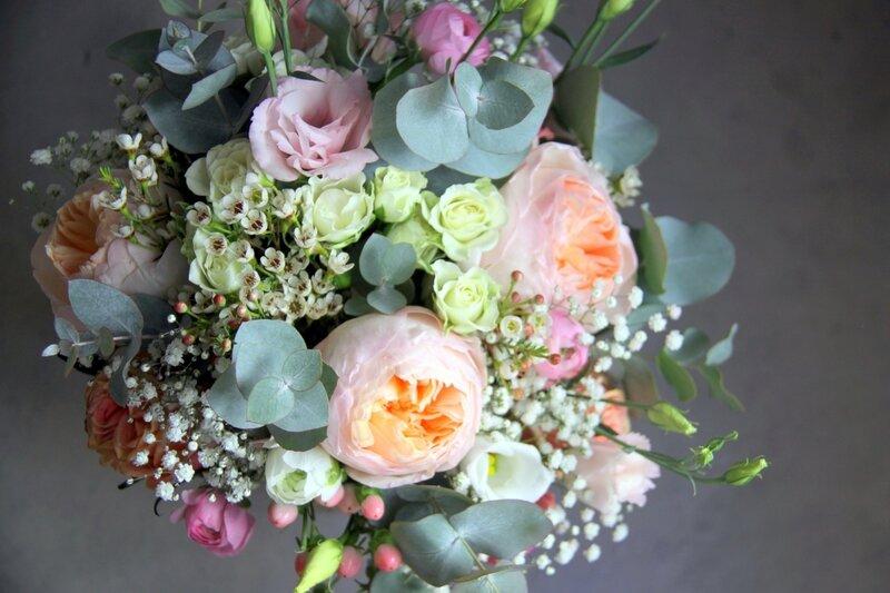 Bouquet champêtre rose David Austin - bouquet de mariée - Création La Saladelle - Atelier floral Perpignan et Pyrénées-Orientales 01