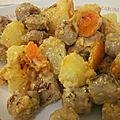 Saucisse aux pommes de terre, crème & curry