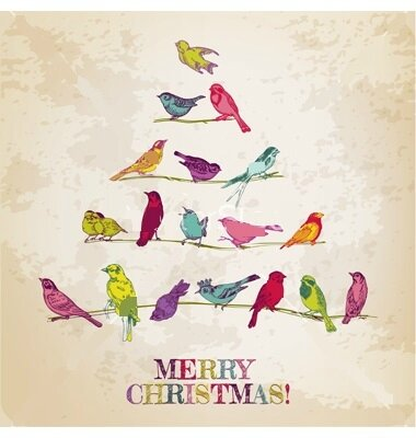 noel retro-christmas-card--birds-on-christmas-tree-vector-1016211