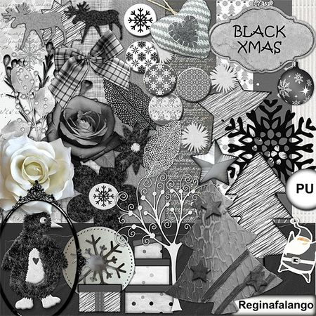 Free scrapbook black Christmas from Regina Falango