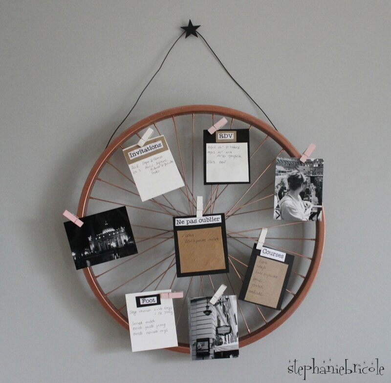 diy deco recup une roue de v lo pense b te st phanie bricole. Black Bedroom Furniture Sets. Home Design Ideas