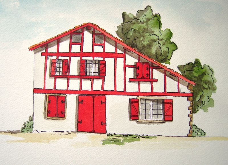 Maison basque l 39 aquarelle le blog de charlotte for Photos maison basque