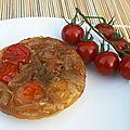 Tartelettes aux tomates cerises et oignons caramélisés, façon tatin
