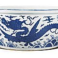 A blue and white 'dragon' fish bowl, jiajing mark and period (1522-1566)