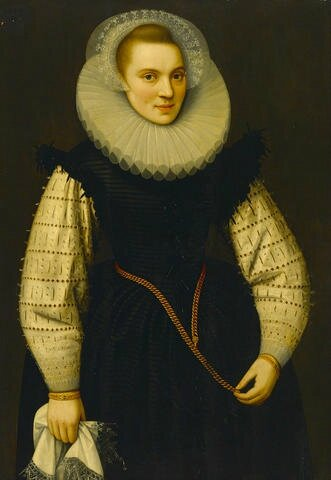 Circle of Gortzius Geldorp (Louvain 1553-1618 Cologne), A portrait of a lady, three-quarter length, holding a handkerchief...
