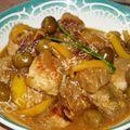 Mijotée de porc aux olives et citron confit.