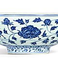 An exceptional and brilliantly painted large blue and white 'peony' bowl, mark and period of xuande(1426-1435)