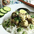 Boulettes de porc au curry vert