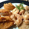 Wok de crevettes au fenouil, purée de courge