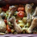 Pilons de poulet aux legumes