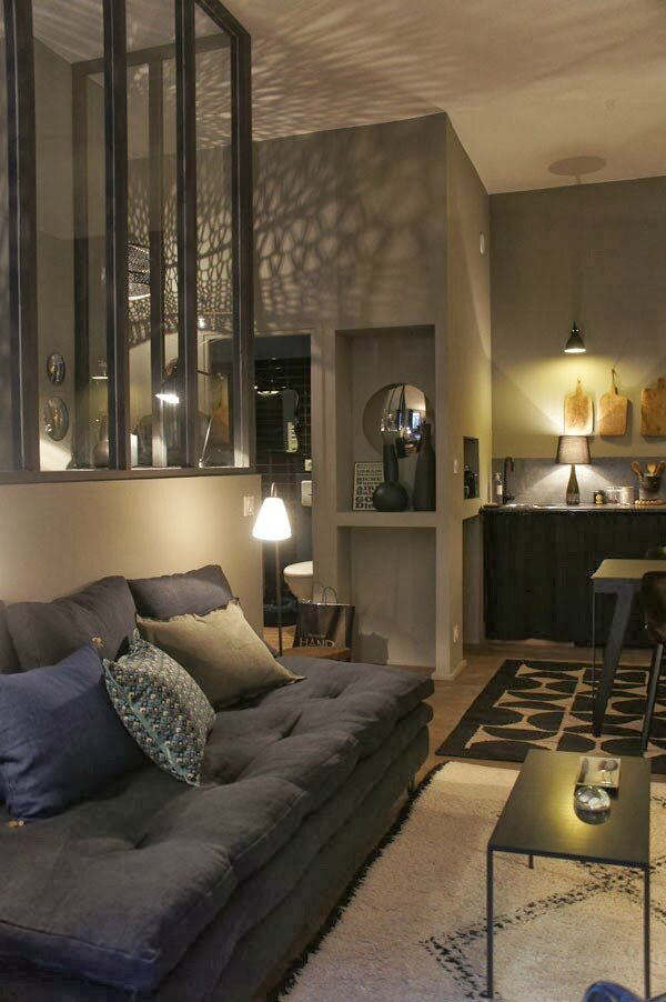 Un appartement gris tr s cosy sonia saelens d co for Salon industriel cosy